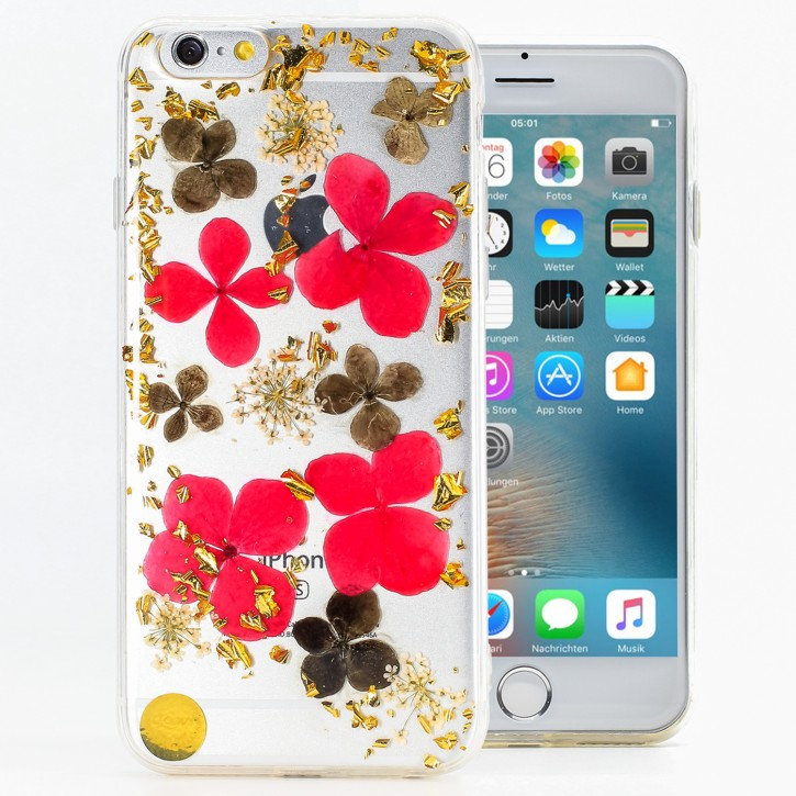 COOVY® Cover für Apple iPhone 6 / 6s dünnes TPU Silikon Bumper Case, Hülle, Slim, Glitzer-Design mit echten getrockneten Blüten |