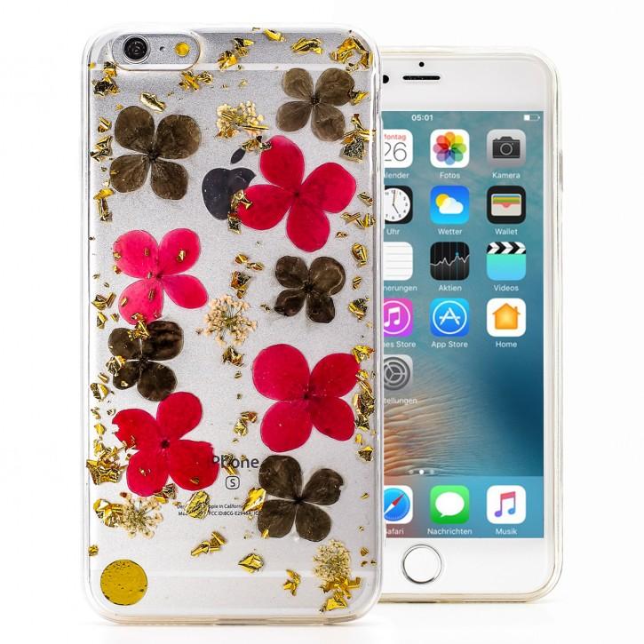 COOVY® Cover für Apple iPhone 6 + plus dünnes TPU Silikon Bumper Case, Slim, Glitzer-Design mit echten getrocknete Blüten