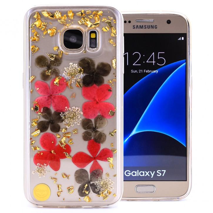 COOVY® Cover für Samsung Galaxy S7 SM-G930F SM-G930 dünnes TPU Silikon Bumper Case, Slim, Glitzer-Design mit echten getrocknete Blüten