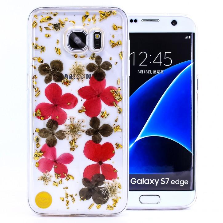 COOVY® Cover für Samsung Galaxy S7 EDGE SM-G935F SM-G935 dünnes TPU Silikon Bumper Case, Slim, Glitzer-Design mit echten getrocknete Blüten