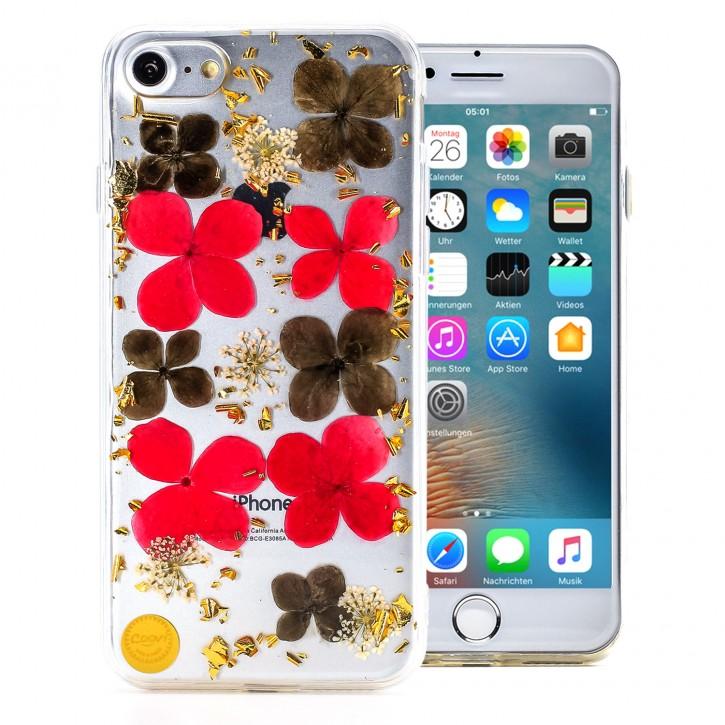 COOVY® Cover für Apple iPhone 7 / 8 dünnes TPU Silikon Bumper Case, Hülle, Slim, Glitzer-Design mit echten getrockneten Blüten |