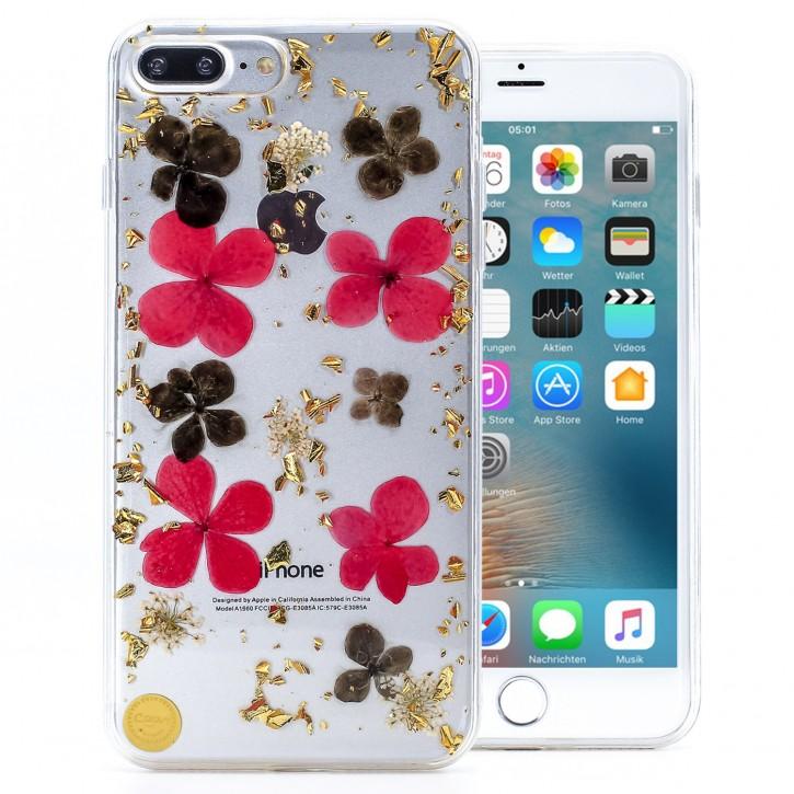 COOVY® Cover für Apple iPhone 7 + plus / 8 + plus dünne TPU Silikon Bumper Hülle, Slim Schutzhülle, Case in funkelndem Glitzer-Design mit wunderschönen in Handarbeit eingearbeiteten echten getrockneten farbigen Blüten