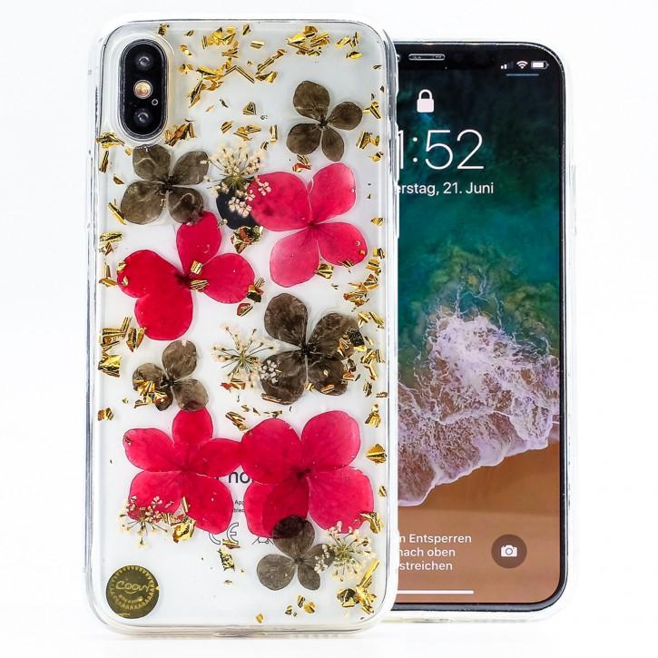 COOVY® Cover für Apple iPhone X / Xs dünnes TPU Silikon Bumper Case, Hülle, Slim, Glitzer-Design mit echten getrockneten Blüten |