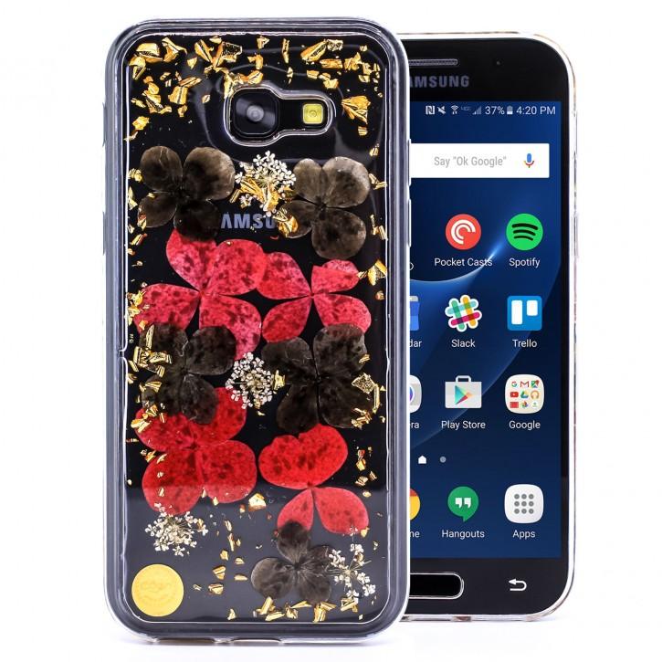 COOVY® Cover für Samsung Galaxy A5 SM-A520 / SM-A520F (Model 2017) dünnes TPU Silikon Bumper Case, Slim, Glitzer-Design mit echten getrocknete Blüten