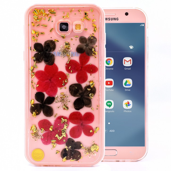 COOVY® Cover für Samsung Galaxy A7 SM-A720 / SM-A720F (Model 2017) dünnes TPU Silikon Bumper Case, Slim, Glitzer-Design mit echten getrocknete Blüten