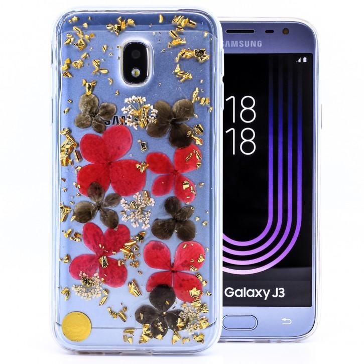 COOVY® Cover für Samsung Galaxy J3 SM-J330G / SM-J330F/DS (Model 2017) / J3 pro dünnes TPU Silikon Bumper Case, Slim, Glitzer-Design mit echten getrocknete Blüten