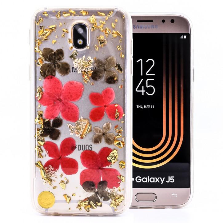 COOVY® Cover für Samsung Galaxy J5 SM-J530 / SM-J530F/DS (Model 2017) / J5 pro dünnes TPU Silikon Bumper Case, Slim, Glitzer-Design mit echten getrocknete Blüten