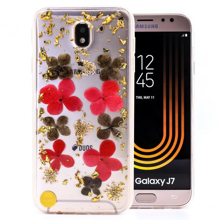 COOVY® Cover für Samsung Galaxy J7 SM-J730GM / SM-J730F/DS (Model 2017) / J7 pro  dünnes TPU Silikon Bumper Case, Slim, Glitzer-Design mit echten getrocknete Blüten