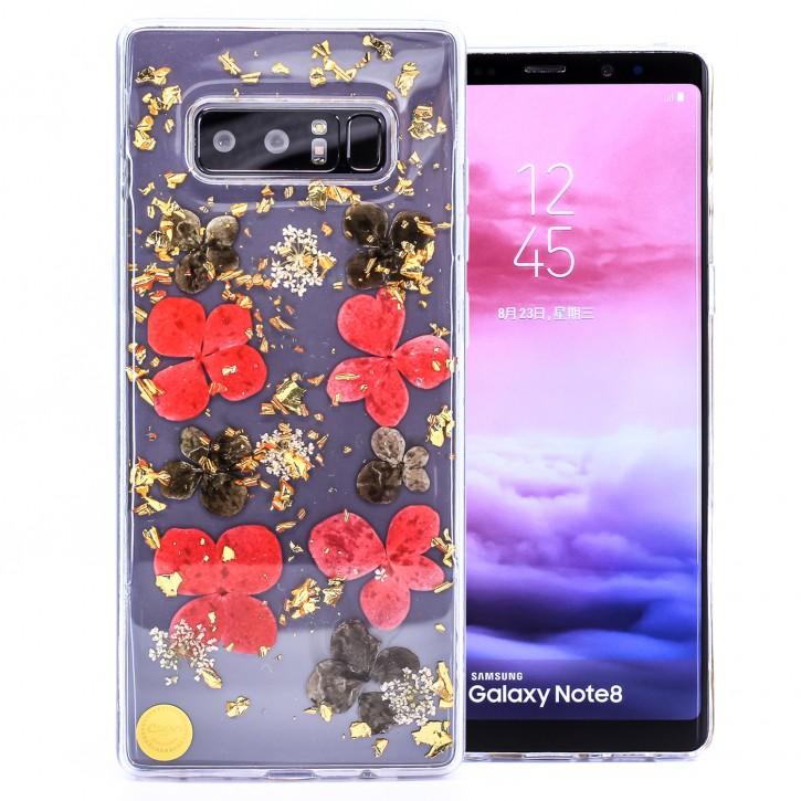 COOVY® Cover für Samsung Galaxy Note 8 SM-N950 / SM-N950F / SM-N950FD dünnes TPU Silikon Bumper Case, Slim, Glitzer-Design mit echten getrocknete Blüten