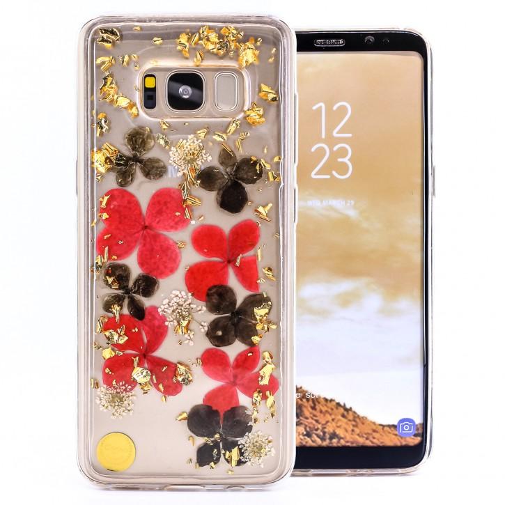 COOVY® Cover für Samsung Galaxy S8 SM-G950F / SM-G950FD dünnes TPU Silikon Bumper Case, Slim, Glitzer-Design mit echten getrocknete Blüten