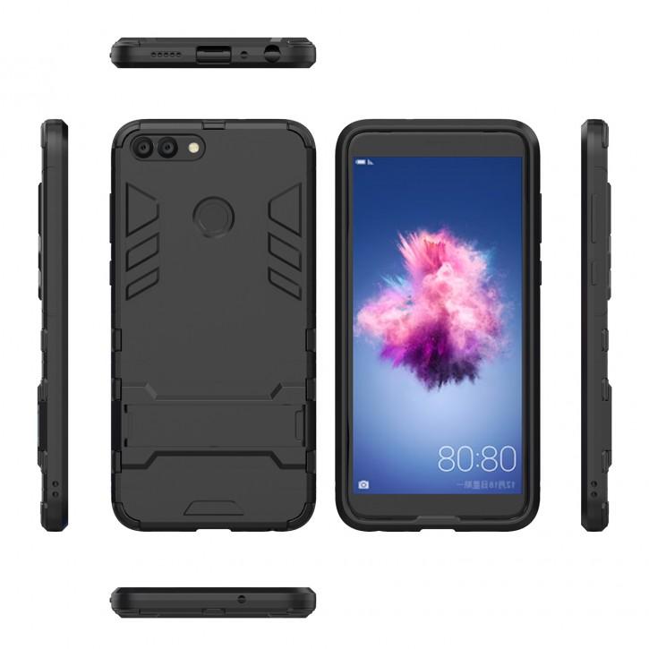 COOVY® Cover für Huawei P smart (Model 2017) / Enjoy 7S Bumper Case, Doppelschicht aus Plastik + TPU-Silikon, extra stark, Anti-Shock Hülle, Standfunktion |