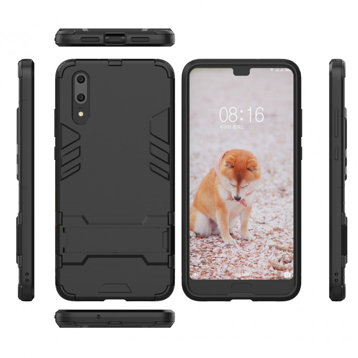 COOVY® Cover für Huawei P20 Bumper Case, Doppelschicht aus Plastik + TPU-Silikon, extra stark, Anti-Shock, Standfunktion