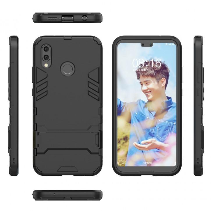 COOVY® Cover für Huawei P20 lite Bumper Case, Doppelschicht aus Plastik + TPU-Silikon, extra stark, Anti-Shock, Standfunktion