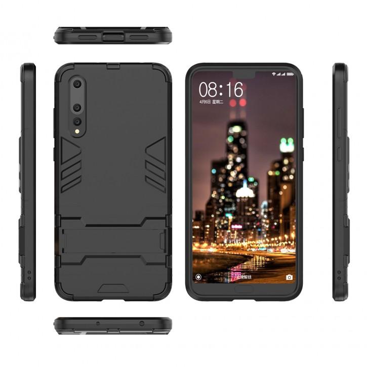 COOVY® Cover für Huawei P20 pro Bumper Case, Doppelschicht aus Plastik + TPU-Silikon, extra stark, Anti-Shock Hülle, Standfunktion |