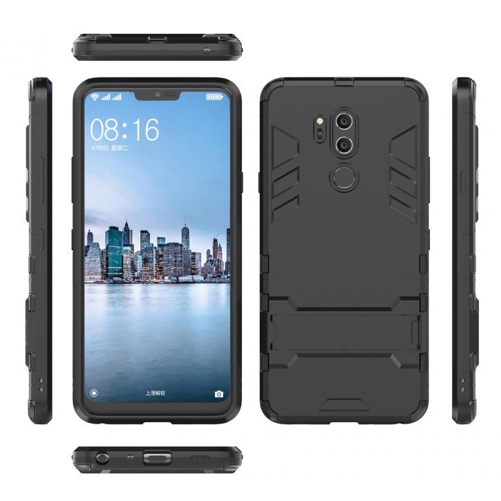 COOVY® Cover für LG G7 G7 ThinQ Bumper Case, Doppelschicht aus Plastik + TPU-Silikon, extra stark, Anti-Shock, Standfunktion