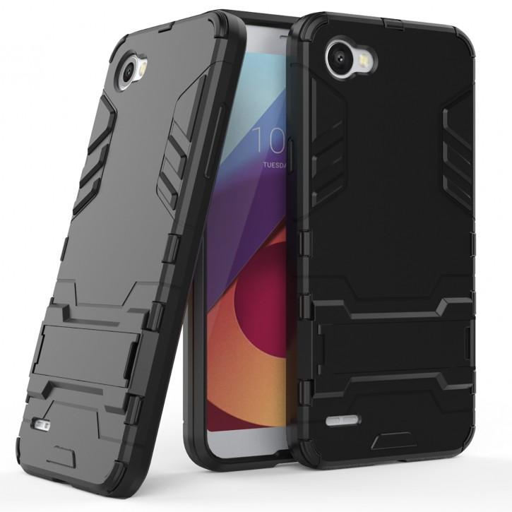 COOVY® Cover für LG Q6 Bumper Case, Doppelschicht aus Plastik + TPU-Silikon, extra stark, Anti-Shock, Standfunktion