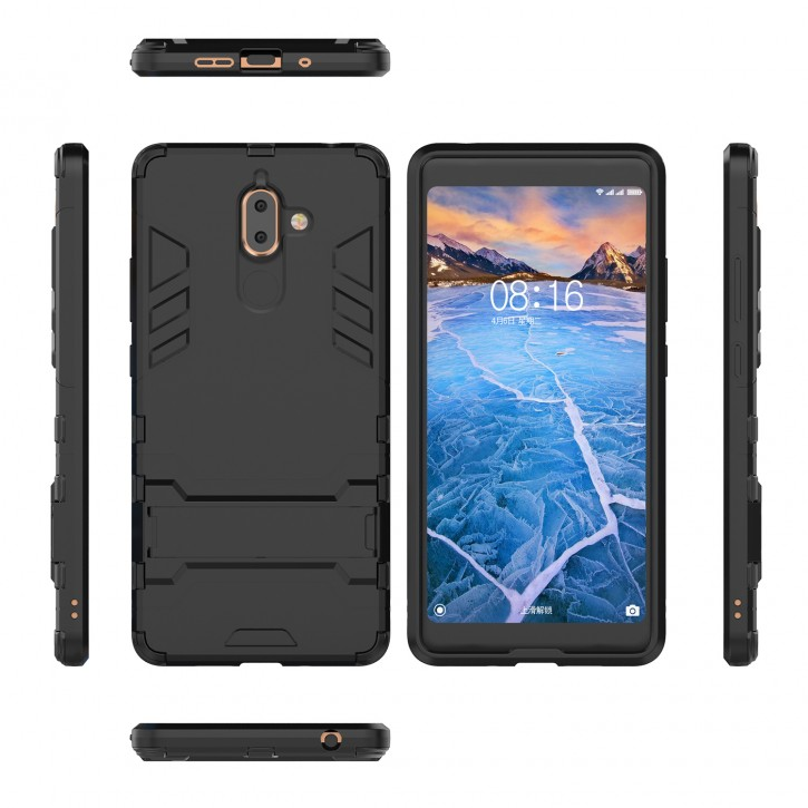COOVY® Cover für Nokia 7 plus Bumper Case, Doppelschicht aus Plastik + TPU-Silikon, extra stark, Anti-Shock, Standfunktion