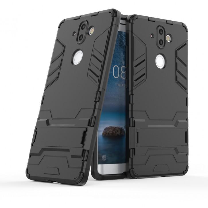 COOVY® Cover für Nokia 8 Sirocco Bumper Case, Doppelschicht aus Plastik + TPU-Silikon, extra stark, Anti-Shock, Standfunktion