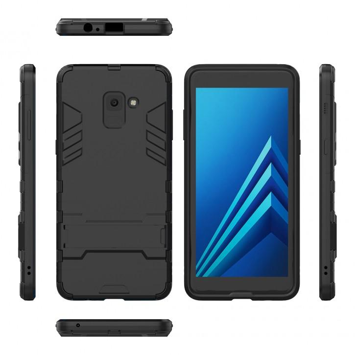 COOVY® Cover für Samsung Galaxy A8 + plus  SM-A730 / SM-A730F/DS (Model 2018) Bumper Case, Doppelschicht aus Plastik + TPU-Silikon, extra stark, Anti-Shock, Standfunktion