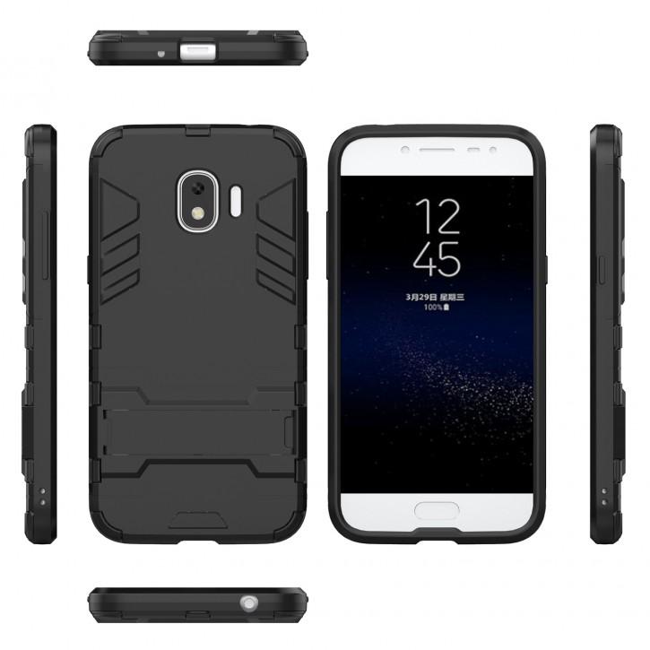 COOVY® Cover für Samsung Galaxy J2 Grand Prime pro SM-J250F/DS (Model 2018) Bumper Case, Doppelschicht aus Plastik + TPU-Silikon, extra stark, Anti-Shock, Standfunktion