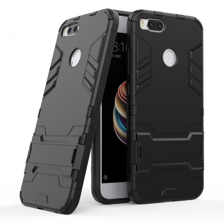 COOVY® Cover für Xiaomi Mi A1 Bumper Case, Doppelschicht aus Plastik + TPU-Silikon, extra stark, Anti-Shock, Standfunktion