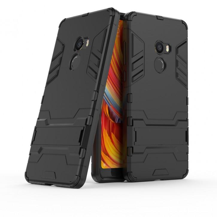 COOVY® Cover für Xiaomi Mi Mix 2 Bumper Case, Doppelschicht aus Plastik + TPU-Silikon, extra stark, Anti-Shock Hülle, Standfunktion |