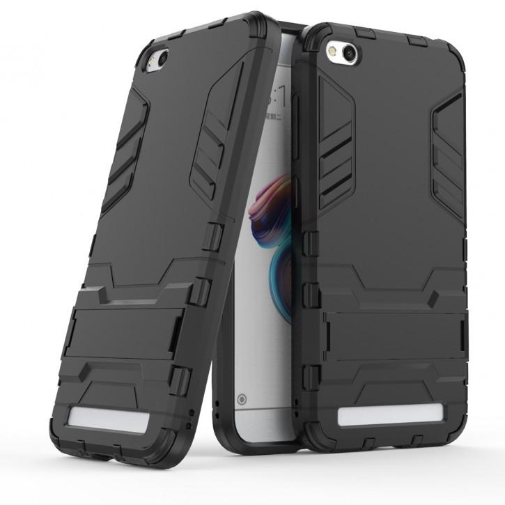 COOVY® Cover für Xiaomi Redmi 5A Bumper Case, Doppelschicht aus Plastik + TPU-Silikon, extra stark, Anti-Shock Hülle, Standfunktion |