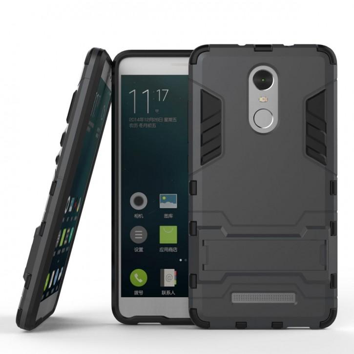 COOVY® Cover für Xiaomi Redmi Note 3 Bumper Case, Doppelschicht aus Plastik + TPU-Silikon, extra stark, Anti-Shock, Standfunktion
