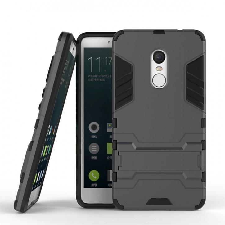 COOVY® Cover für Xiaomi Redmi Note 4 Bumper Case, Doppelschicht aus Plastik + TPU-Silikon, extra stark, Anti-Shock, Standfunktion