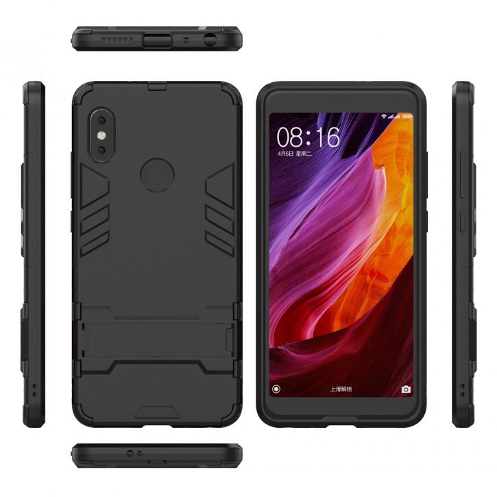 COOVY® Cover für Xiaomi Redmi Note 5 / Redmi 5 plus Bumper Case, Doppelschicht aus Plastik + TPU-Silikon, extra stark, Anti-Shock, Standfunktion