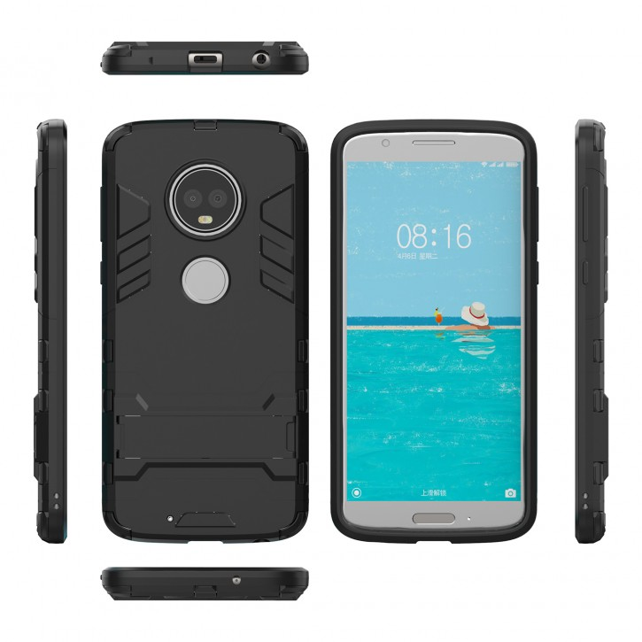 COOVY® Cover für Motorola Moto G6 Bumper Case, Doppelschicht aus Plastik + TPU-Silikon, extra stark, Anti-Shock, Standfunktion
