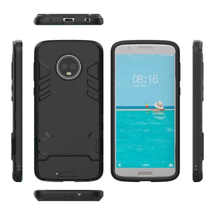 COOVY® Cover für Motorola Moto G6 plus Bumper Case, Doppelschicht aus Plastik + TPU-Silikon, extra stark, Anti-Shock, Standfunktion