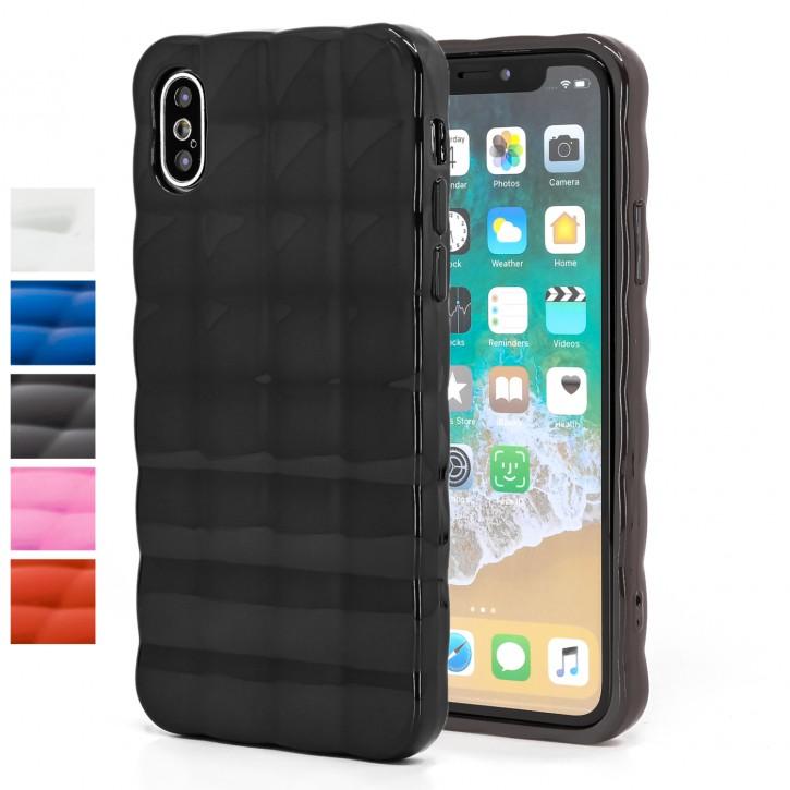 COOVY® Cover für Apple iPhone X / Xs leichtes TPU Silikon Bumper Case, Hülle, Slim, im Luftkissen-Design mit Chrom-Effekt |