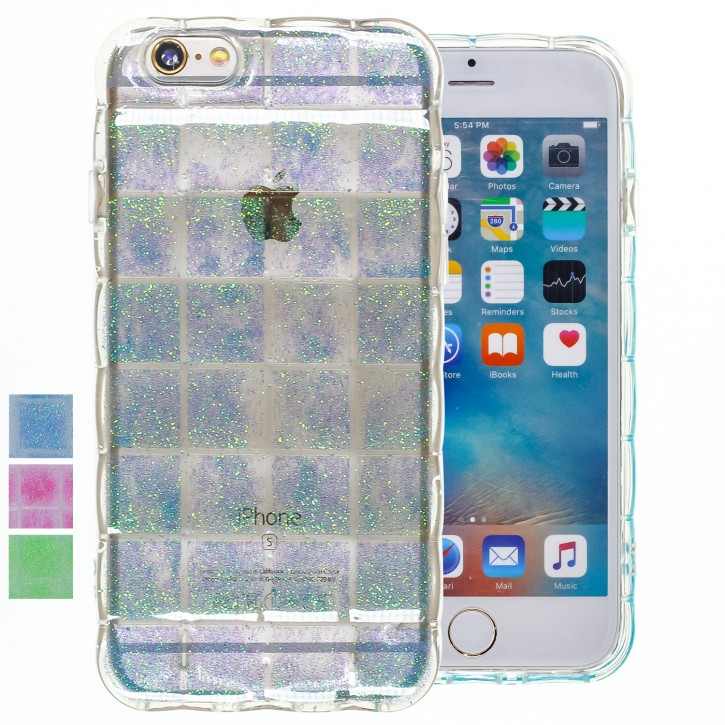 COOVY® Cover für Apple iPhone 6 / 6s leichtes TPU Silikon Bumper Case, Hülle, Slim, im Luftkissen Design mit Glitzer Regenbogen-Effekt |