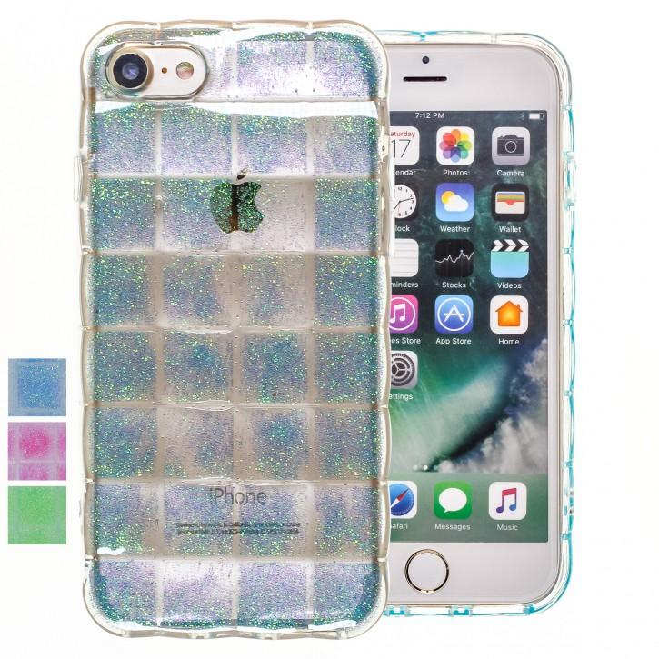 COOVY® Cover für Apple iPhone 7 / 8 leichtes TPU Silikon Bumper Case, Hülle, Slim, im Luftkissen Design mit Glitzer Regenbogen-Effekt |
