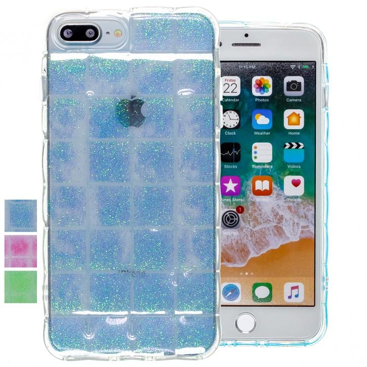 COOVY® Cover für Apple iPhone 7 + plus / 8 + plus leichte TPU Silikon Bumper Hülle, Slim Schutzhülle, Case im Luftkissen Design mit Glitter Regenbogen-Effekt