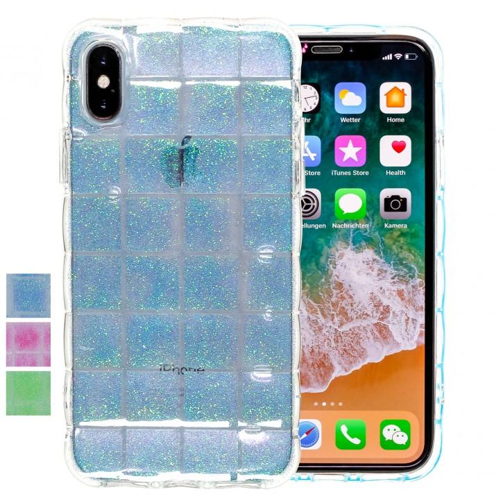 COOVY® Cover für Apple iPhone X / Xs leichtes TPU Silikon Bumper Case, Hülle, Slim, im Luftkissen Design mit Glitzer Regenbogen-Effekt |