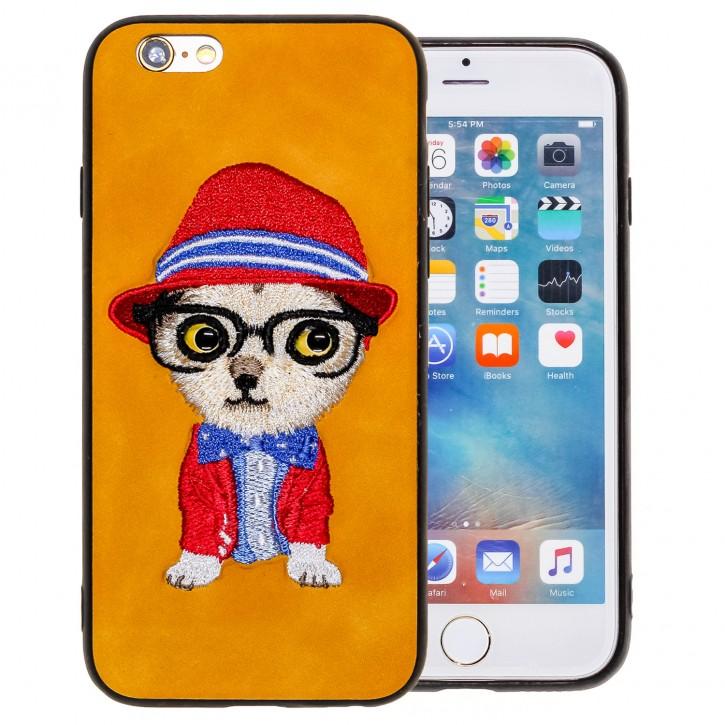 COOVY® Cover für Apple iPhone 6 / 6s leichtes TPU Bumper Case/Hülle mit hochwertig gestickten süßen Tiermotiv mit 3D Augen Effekt |