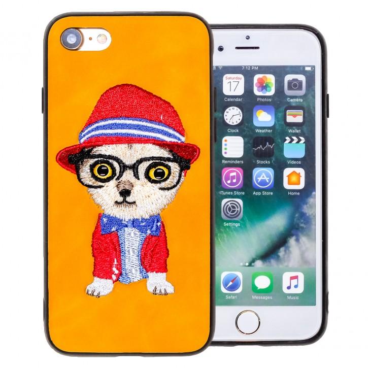 COOVY® Cover für Apple iPhone 7 / 8 leichtes TPU Bumper Case/Hülle mit hochwertig gestickten süßen Tiermotiv mit 3D Augen Effekt |
