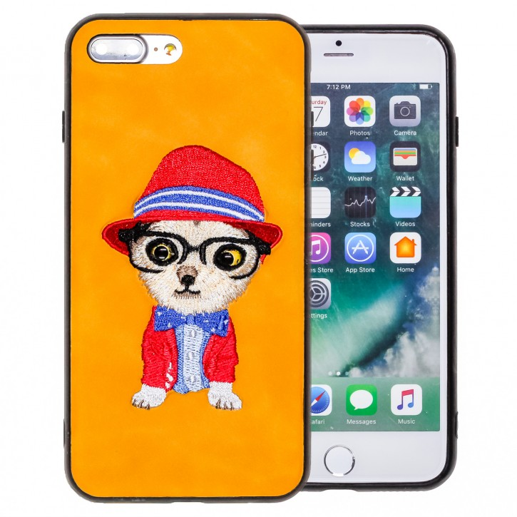 COOVY® Cover für Apple iPhone 7 + plus / 8 + plus leichte TPU Schutzhülle mit hochwertig gestickten süßen Tiermotiv mit 3D Augen Effekt