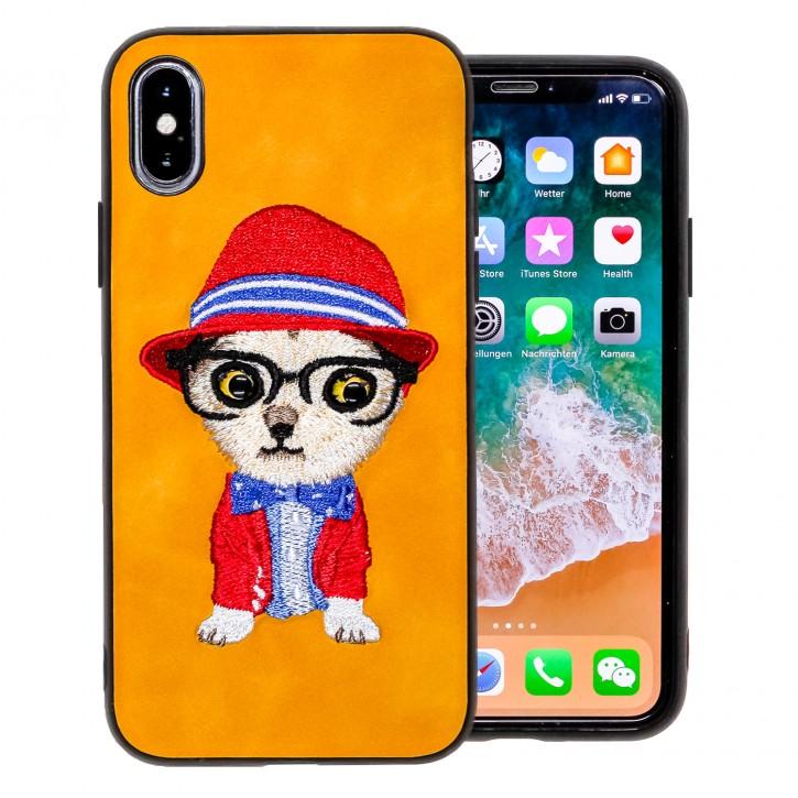COOVY® Cover für Apple iPhone X / Xs leichtes TPU Bumper Case mit hochwertig gestickten süßen Tiermotiv mit 3D Augen Effekt