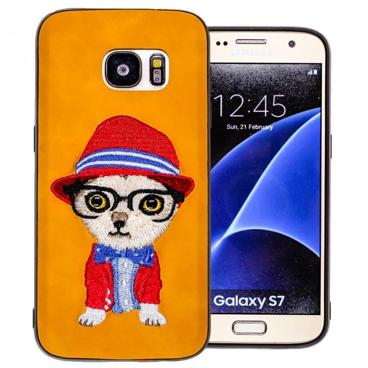 COOVY® Cover für Samsung Galaxy S7 SM-G930F SM-G930 leichtes TPU Bumper Case mit hochwertig gestickten süßen Tiermotiv mit 3D Augen Effekt