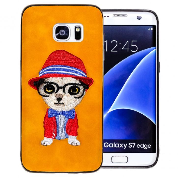 COOVY® Cover für Samsung Galaxy S7 EDGE SM-G935F SM-G935 leichtes TPU Bumper Case mit hochwertig gestickten süßen Tiermotiv mit 3D Augen Effekt