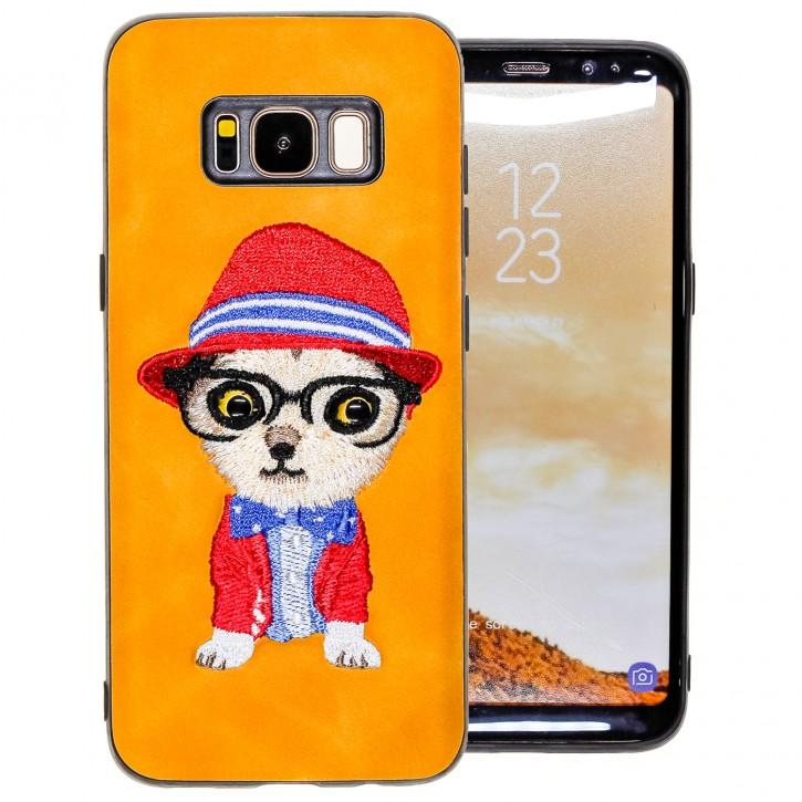 COOVY® Cover für Samsung Galaxy S8 SM-G950F / SM-G950FD leichtes TPU Bumper Case mit hochwertig gestickten süßen Tiermotiv mit 3D Augen Effekt