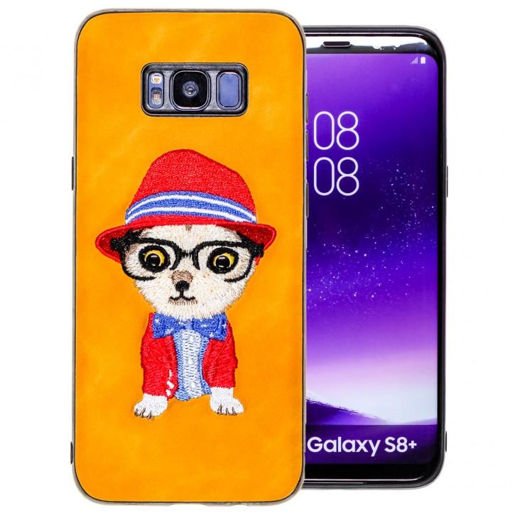 COOVY® Cover für Samsung Galaxy S8 + plus SM-G955F / SM-G955FD leichtes TPU Bumper Case mit hochwertig gestickten süßen Tiermotiv mit 3D Augen Effekt