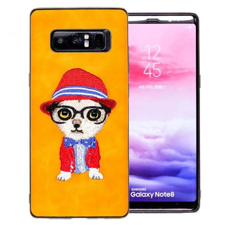 COOVY® Cover für Samsung Galaxy Note 8 SM-N950 / SM-N950F / SM-N950FD leichtes TPU Bumper Case mit hochwertig gestickten süßen Tiermotiv mit 3D Augen Effekt