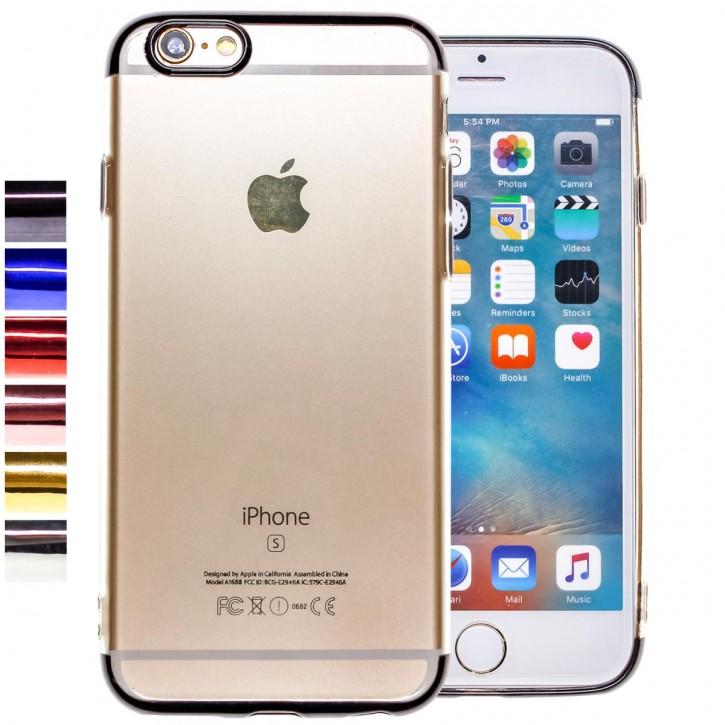 COOVY® Cover für Apple iPhone 6 / 6s leichtes, ultradünnes TPU Silikon Bumper Case, transparente Hülle, Chrom Rahmen |