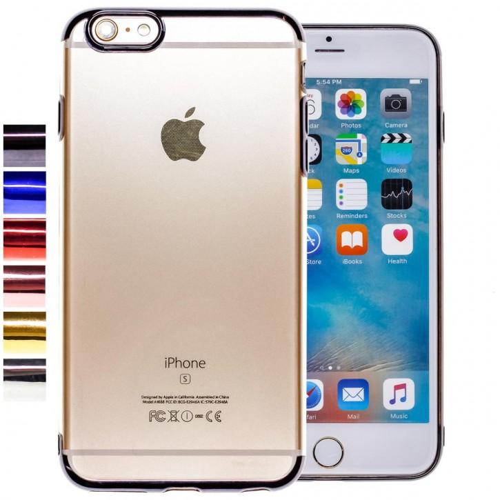 COOVY® Cover für Apple iPhone 6 + plus leichtes, ultradünnes TPU Silikon Bumper Case, transparente Hülle, Chrom Rahmen  