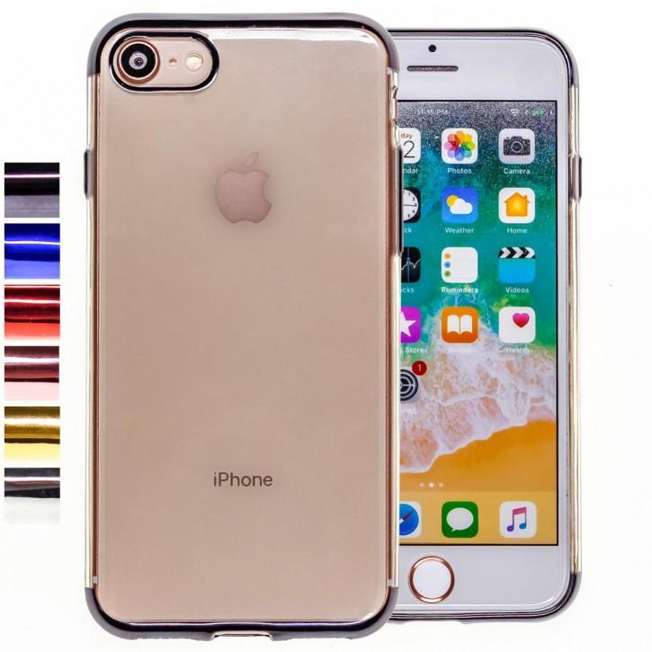 COOVY® Cover für Apple iPhone 7 / 8 leichtes, ultradünnes TPU Silikon Bumper Case, transparente Hülle, Chrom Rahmen |