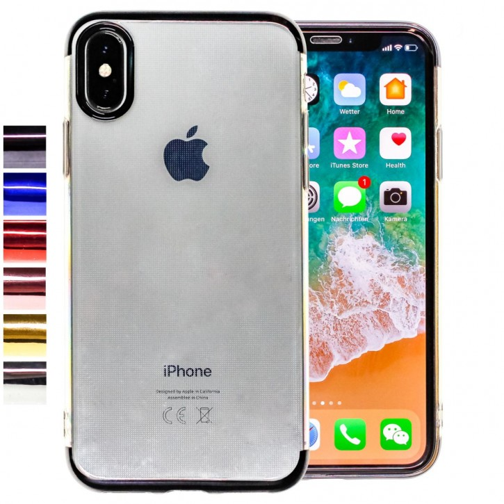 COOVY® Cover für Apple iPhone X / Xs leichtes, ultradünnes TPU Silikon Bumper Case, transparent, Chrom Rahmen